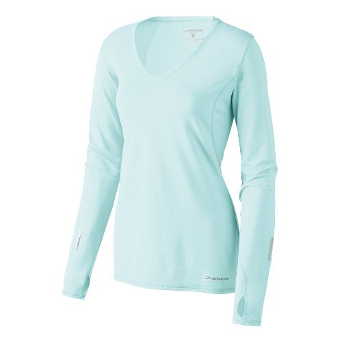Womens Brooks Essential V-neck Long Sleeve No Zip Technical Tops - Sea Foam XS