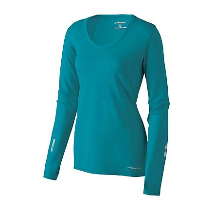 Womens Brooks Essential LS V-neck Long Sleeve No Zip Technical Tops