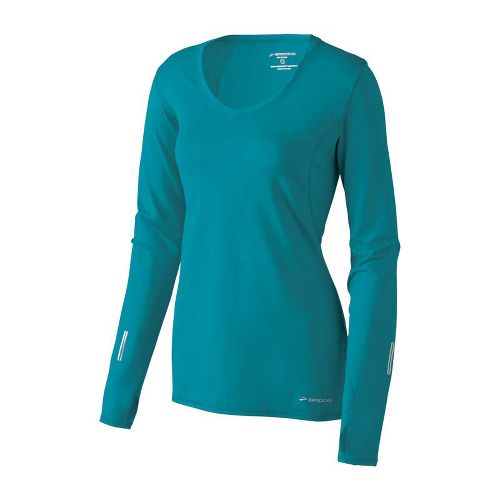 Womens Brooks Essential V-neck Long Sleeve No Zip Technical Tops - Tourmaline M