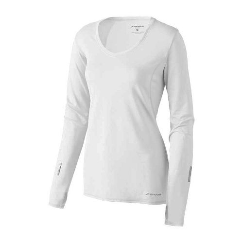 Womens Brooks Essential V-neck Long Sleeve No Zip Technical Tops - White L