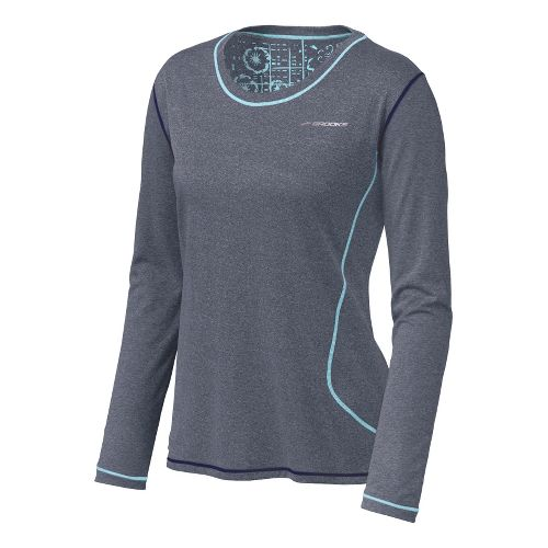 Womens Brooks Versatile EZ Long Sleeve No Zip Technical Tops - Midnight/Helium S