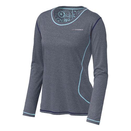 Womens Brooks Versatile EZ Long Sleeve No Zip Technical Tops - Midnight/Helium S