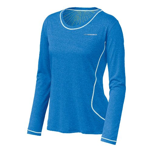 Womens Brooks Versatile EZ Long Sleeve No Zip Technical Tops - Neptune M