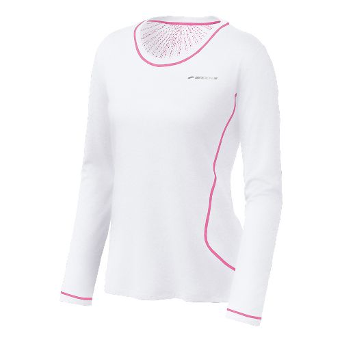 Womens Brooks Versatile EZ Long Sleeve No Zip Technical Tops - White/Brite Pink L