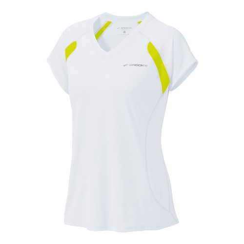 Womens Brooks Epiphany Short Sleeve Technical Tops - White/Nightlife L