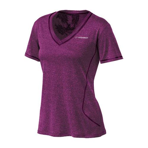 Womens Brooks Versatile EZ SS V-Neck Short Sleeve Technical Tops - Plum XS