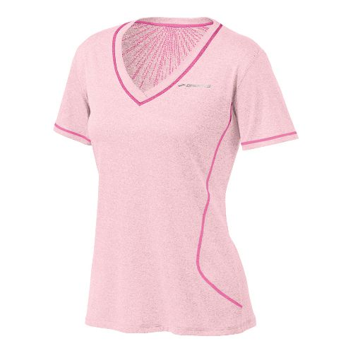 Womens Brooks Versatile EZ SS V-Neck Short Sleeve Technical Tops - Petal XS