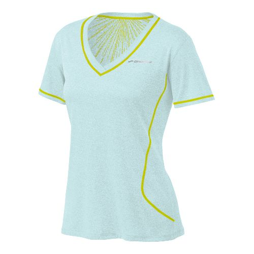 Womens Brooks Versatile EZ SS V-Neck Short Sleeve Technical Tops - Sea Foam M