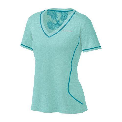 Womens Brooks Versatile EZ SS V-Neck Short Sleeve Technical Tops - Tropic S