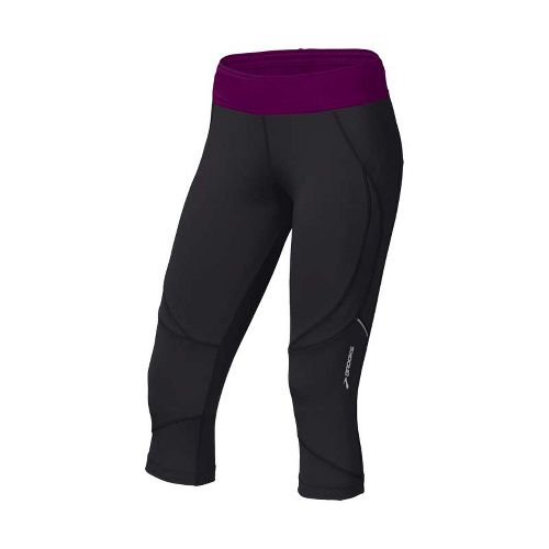 Womens Brooks Infiniti Capri II Running Capris - Black/Plum XL