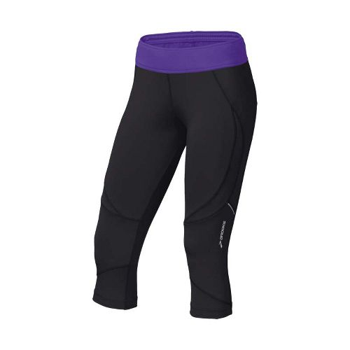 Womens Brooks Infiniti Capri II Running Capris - Black/Royal Purple L