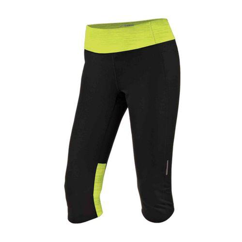 Womens Brooks Essential Capri Tights - Black/Citron XL