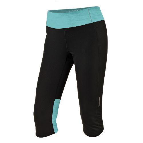 Womens Brooks Essential Capri Tights - Black/Tropic S