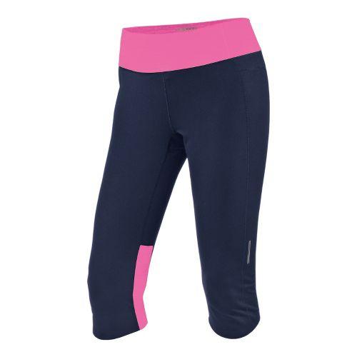 Womens Brooks Essential Capri Tights - Midnight/Brite Pink M