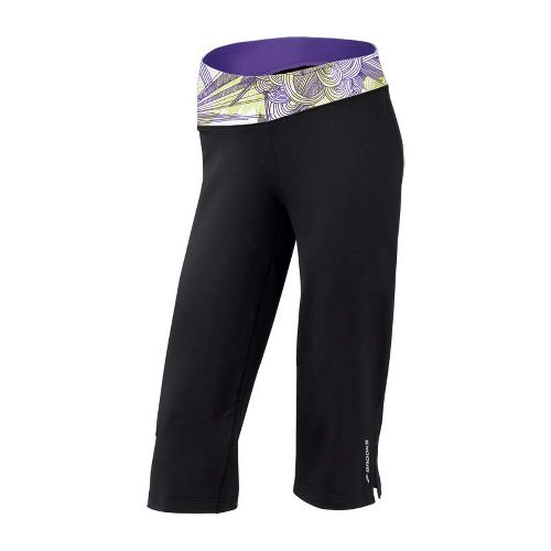 Womens Brooks Glycerin III Capri Pants - Black/Citron Print S