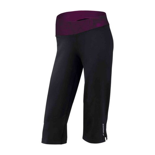 Womens Brooks Glycerin III Capri Pants - Black/Plum Print XL