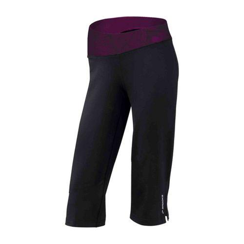 Womens Brooks Glycerin III Capri Pants - Black/Plum Print XS