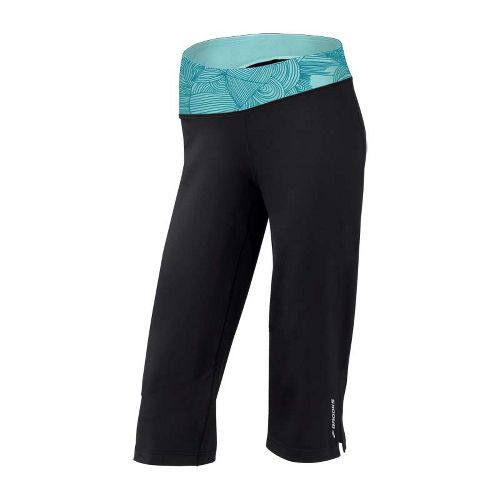Womens Brooks Glycerin III Capri Pants - Black/Tourmaline Print M