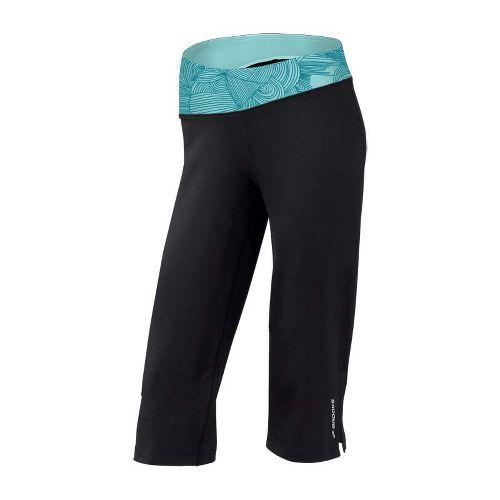 Womens Brooks Glycerin III Capri Pants - Black/Tourmaline Print XL