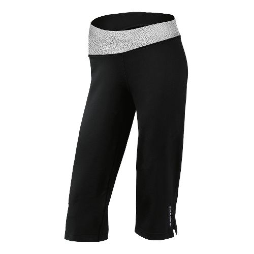 Womens Brooks Glycerin III Capri Pants - Black/White Mist Print M