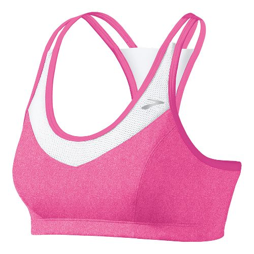 Womens Brooks Epiphany II Sports Bras - Brite Pink/White L