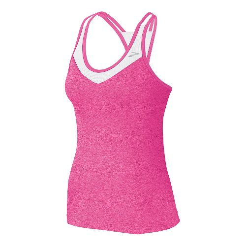 Womens Brooks Epiphany Support Tank II Sport Top Bras - Brite Pink/White XL
