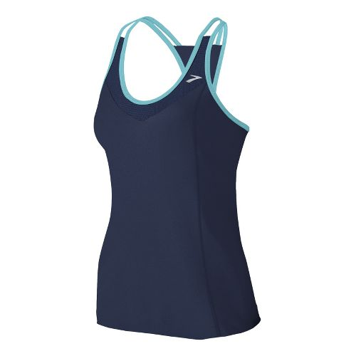 Womens Brooks Epiphany Support Tank II Sport Top Bras - Midnight/Helium XL