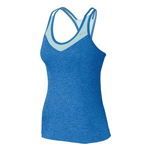 Womens Brooks Epiphany Support Tank II Sport Top Bras - Neptune/Sea Foam M