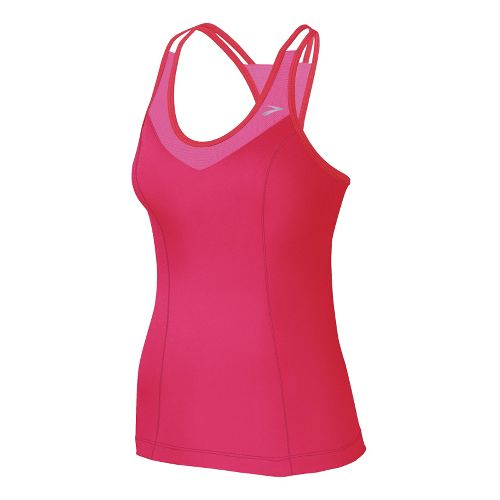 Womens Brooks Epiphany Support Tank II Sport Top Bras - Pomegranate/Bright Pink L