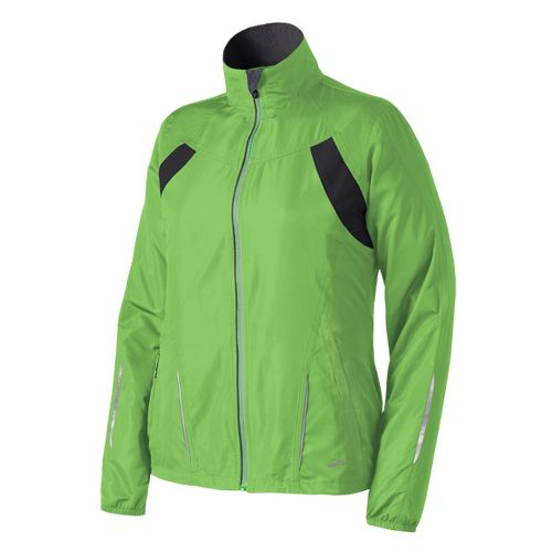 Womens Brooks Essential Run II Outerwear Jackets - Bali Green L