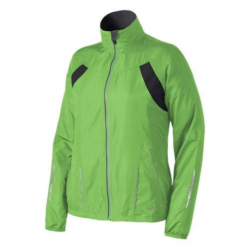 Womens Brooks Essential Run II Outerwear Jackets - Bali Green M