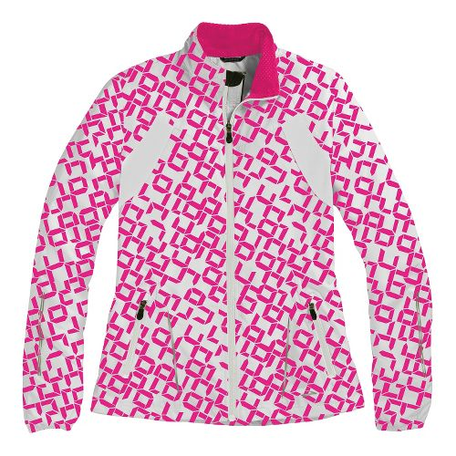 Womens Brooks Essential Run II Outerwear Jackets - Bright Pink Digi Print/White L