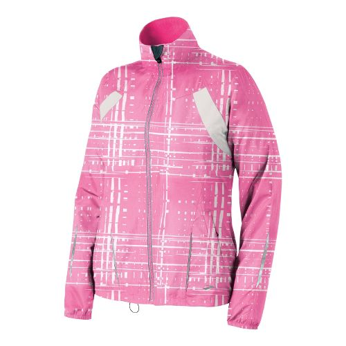 Womens Brooks Essential Run II Outerwear Jackets - Brite Pink Hatch M