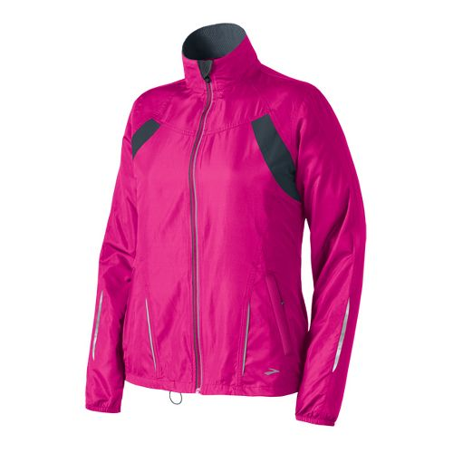 Womens Brooks Essential Run II Outerwear Jackets - Brite Pink/Atlantic XS