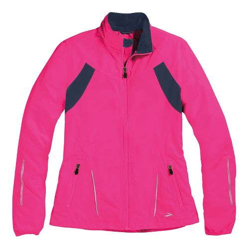 Womens Brooks Essential Run II Outerwear Jackets - Brite Pink/Midnight XS
