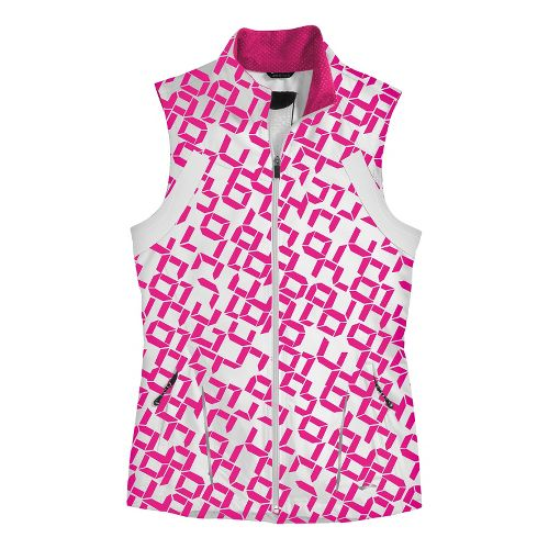 Womens Brooks Essential Run II Outerwear Vests - Bright Pink Digi Print/White L