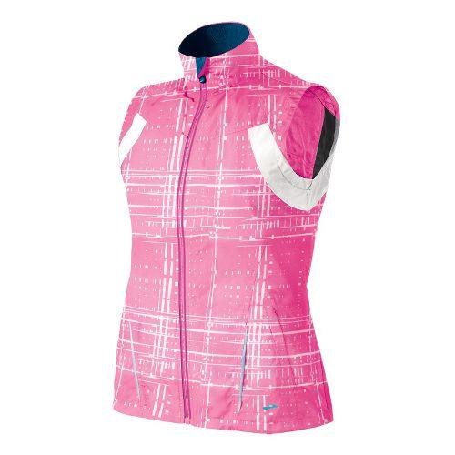 Womens Brooks Essential Run II Outerwear Vests - Brite Pink Hatch XS