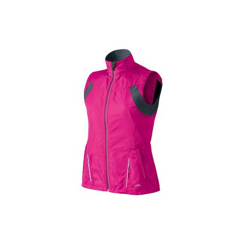 Womens Brooks Essential Run II Outerwear Vests - Brite Pink/Anthracite L