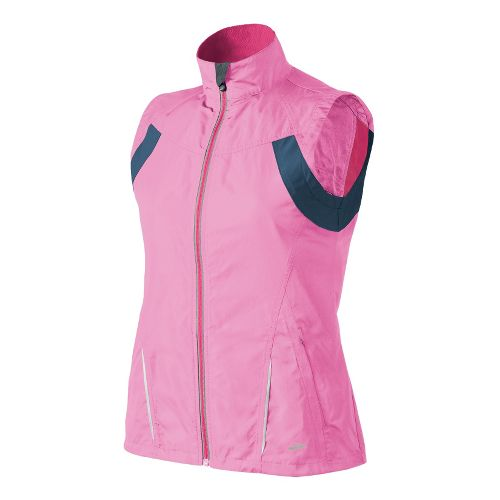 Womens Brooks Essential Run II Outerwear Vests - Brite Pink/Midnight S