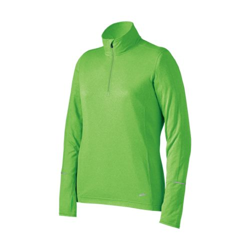 Womens Brooks Nightlife Essential Long Sleeve 1/2 Zip Technical Tops - Brite Green L
