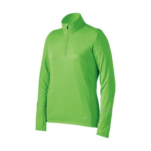 Womens Brooks Nightlife Essential Long Sleeve 1/2 Zip Technical Tops - Brite Green XL