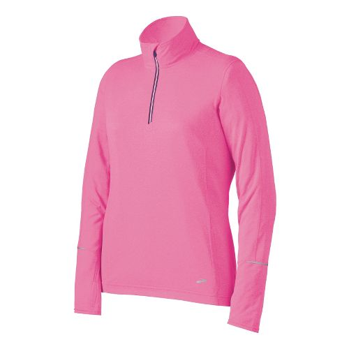 Womens Brooks Nightlife Essential Long Sleeve 1/2 Zip Technical Tops - Brite Pink M