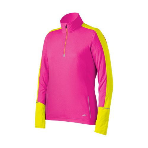 Womens Brooks Nightlife Essential Long Sleeve 1/2 Zip Technical Tops - Brite Pink/Nightlife XL