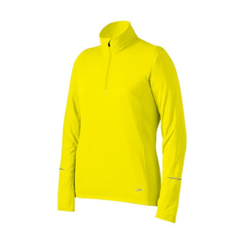 Womens Brooks Nightlife Essential Long Sleeve 1/2 Zip Technical Tops - Nightlife XS