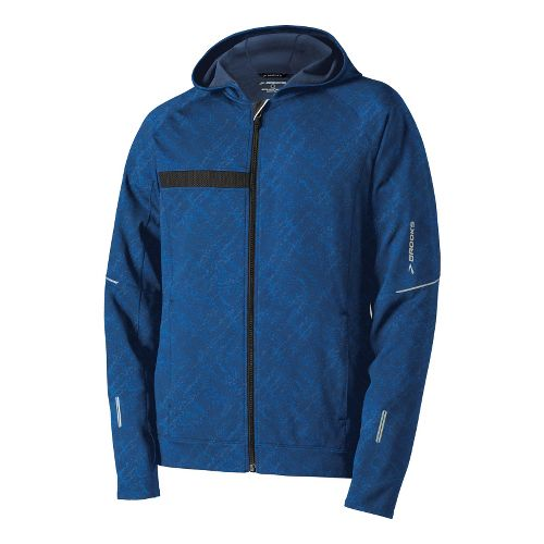 Mens Brooks Utopia Thermal Hooded Outerwear Jackets - Midnight Splatter Print L