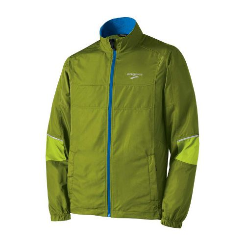 Mens Brooks Essential Run II Outerwear Jackets - Moss/Lime Green L