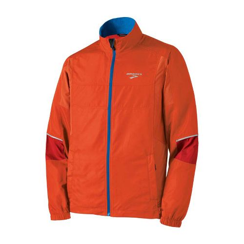 Mens Brooks Essential Run II Outerwear Jackets - Torch/Lava M