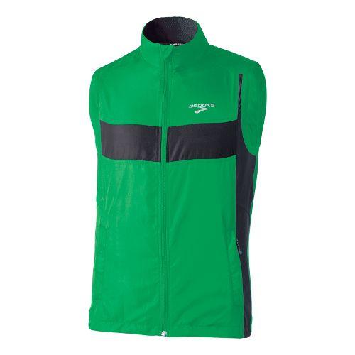 Mens Brooks Essential Run II Outerwear Vests - Fern/Black M