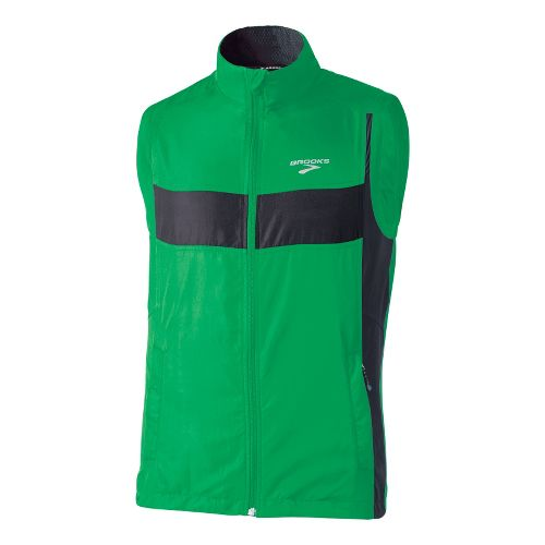 Mens Brooks Essential Run II Outerwear Vests - Fern/Black XL
