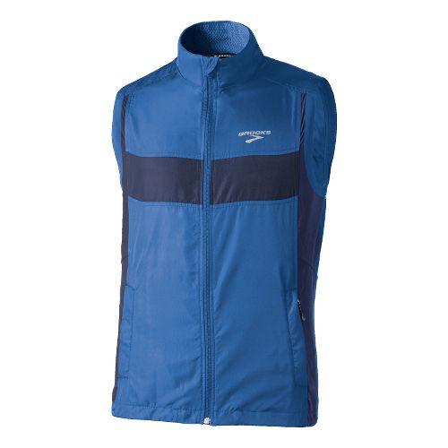 Mens Brooks Essential Run II Outerwear Vests - Galaxy/Midnight XL
